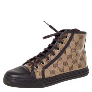 Gucci Brown/Beige GG Coated Canvas And Leather Trim California High Top Sneakers Size 36