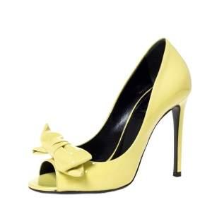 Gucci Yellow Patent Clodine Peep Toe Bow Pumps Size 36.5