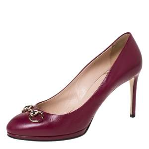 Gucci Pink Leather Horsebit Round Toe Pumps Size 40.5
