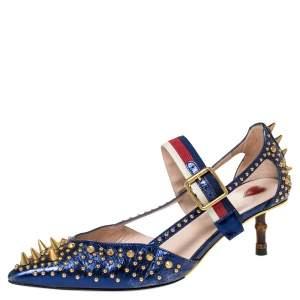 حذاء كعب عالى غوتشى مقدمة مدببة سير إبزيم مرصع يونيا جلد أزرق مقاس 37.5