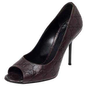 Gucci Brown Guccissima Leather Peep Toe Pumps Size 37