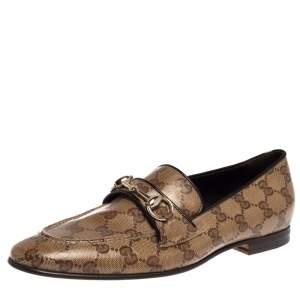Gucci Beige GG Canvas Jordaan Horsebit Loafers Size 37.5