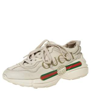 Gucci Ivory Leather Rhyton Vintage Logo Platform Sneakers Size 36