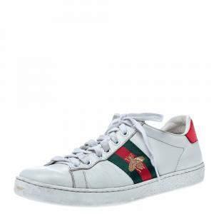حذاء رياضي غوتشي منخفض من أعلى أيس مطرز نحل جلد أبيض مقاس 37
