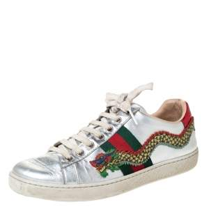 Gucci Metallic Silver Leather Web Ace Dragon Lace Up Sneakers Size 36