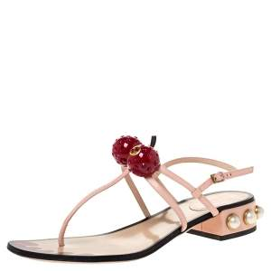 Gucci Pink Leather Hatsumomo Cherry Thong Sandals Size 38