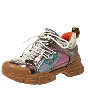 حذاء رياضي غوتشي منخفض من أعلى فلاشترك شبك وجلد متعدد الألوان مقاس 36