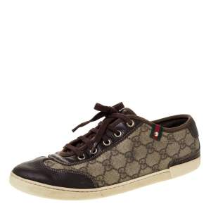 Gucci Brown GG Supreme Canvas And Leather Barcelona Low Top Sneakers Size 39