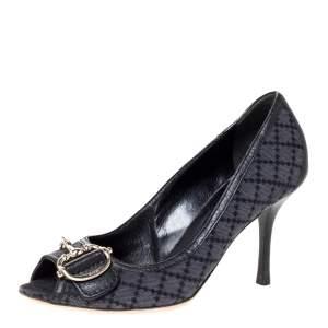 Gucci Black Diamante Canvas Horsebit Peep Toe Pumps Size 37