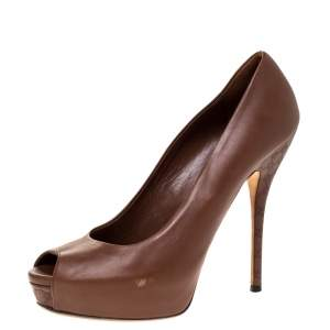 Gucci Brown Leather Sofia Peep Toe Platform Pumps Size 38.5