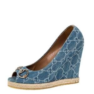 Gucci Blue GG Denim Charlotte Horsebit Peep Toe Wedge Pumps Size 38