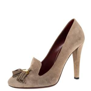 Gucci Beige Suede Tassel Loafer Pumps Size 36.5