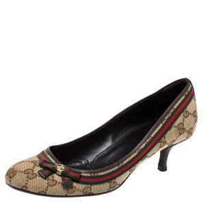Gucci Beige GG Canvas And Leather Trim Web Bow Pumps Size 39