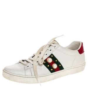 Gucci White Leather Web Detail New Ace Faux Pearl Embellished Low Top Sneakers Size 36.5