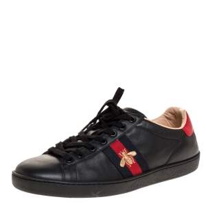 Gucci Black Leather Ace Web Bee Low Top Lace Up Sneakers Size 40