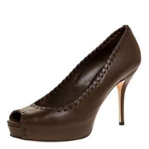 Gucci Dark Brown Leather Whipstitch Peep Toe Platform Pumps Size 38.5
