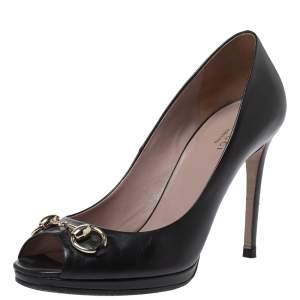 Gucci Black Leather Horsebit Peep Toe Pumps Size 38