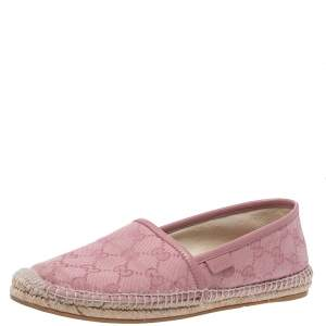 Gucci Pink GG Canvas Slip On Espadrille Flats Size 37.5