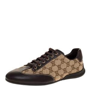 Gucci Brown/Beige GG Canvas And Leather Low Top Sneakers Size 38