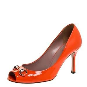 Gucci Orange Patent Leather Horsebit Peep Toe Pumps Size 36