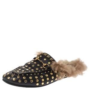 حذاء لوفرز مول غوتشي فلات برينستاون مرصع بطانة فرو جلد أسود مقاس 36