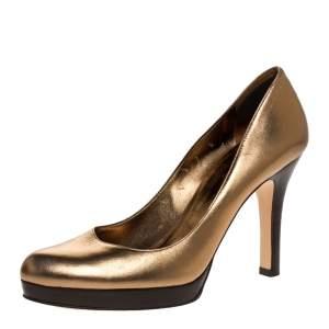Gucci Metallic Gold Leather Platform Pumps Size 38.5