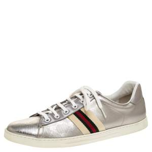 Gucci Silver GG Leather Ace Low Top Sneakers Size 39.5