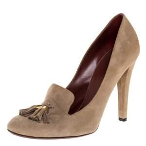 Gucci Beige Suede Tassel Loafer Pumps Size 39.5