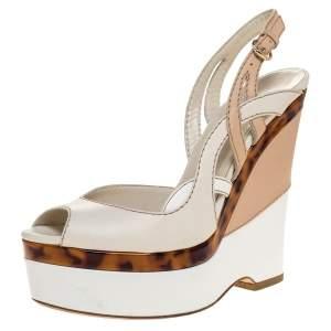 Gucci Two Tone Leather Kotao Tortoise Peep Toe Wedge Sandals Size 38