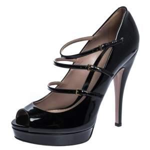 Gucci Black Patent Leather Multi Strap Lisbeth Platform Pumps Size 40