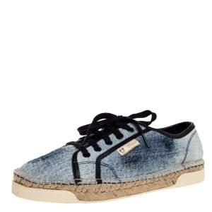 حذاء رياضي إسبادريل غوتشي ايفيسا قماش دنيم أزرق / أبيض مقاس 38