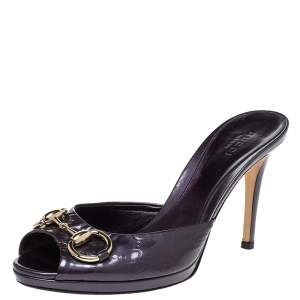 Gucci Purple Guccissima Patent Leather Peep Toe Horsebit Slides Size 37
