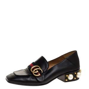 Gucci Black Leather Pearl Embellished Double G Web Mid Heel Loafers Size 36.5