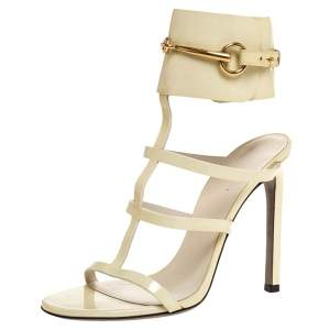 Gucci Cream Patent Ursula Horsebit Gladiator Sandals Size 37