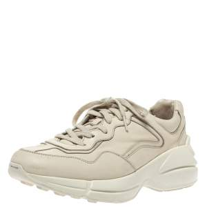 Gucci Beige Leather Rhyton Low Top Sneakers Size 40