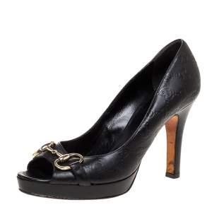 Gucci Black Guccissima Leather Horsebit Peep Toe Platform Pumps Size Size 39