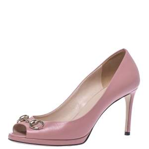 Gucci Pink Leather Horsebit Peep Toe Pumps Size 37