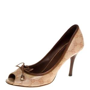 Gucci Beige GG Canvas Bamboo Bow Peep Toe Pumps Size 37.5