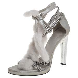 Tom Ford For Gucci Silver Leather And Mink Fur Strappy Ankle Wrap Sandals Size 40.5