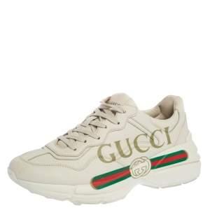 Gucci Ivory Leather Rhyton Vintage Logo Platform Sneakers Size 39