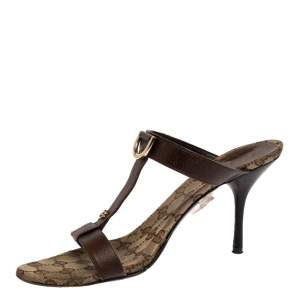 Gucci Brown Leather T-Strap Slide Sandals Size 40.5