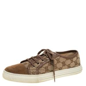 Gucci Brown GG Canvas and Suede California Low Top Sneakers Size 39
