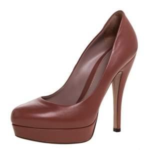Gucci Brown Leather Platform Pumps Size 36.5