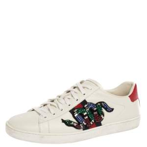 Gucci White Leather Ace Snake Crystal Embellished Low Top Sneakers Size 40
