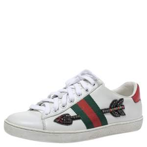 Gucci White Leather Crystal Embellished Arrow Ace Low Top Sneakers Size 36