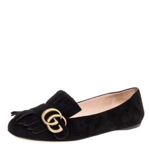 Gucci Black Suede Leather GG Marmont Fringe Detail Ballet Flats Size 36.5