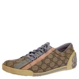 Gucci Beige GG Canvas Boulevard Script Logo Lace Up Sneakers Size 41