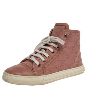 Gucci Pink GG Supreme Canvas and Leather Cap Toe High Top Sneakers Size 35