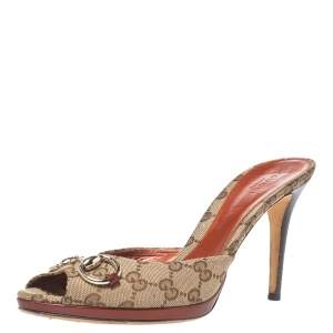 Gucci Beige/Brown GG Canvas And Leather Horsebit Peep Toe Sandals Size 41