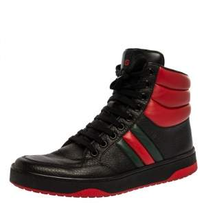 Gucci Black/Red Leather 'New Praga Karibu' High Top Lace Up Sneakers Size 37